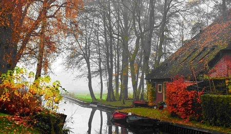 This is the original photo of the Autumn Landscape with River painting