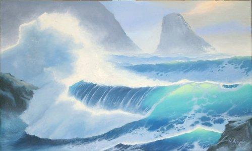 Paesaggio con onda e rocce