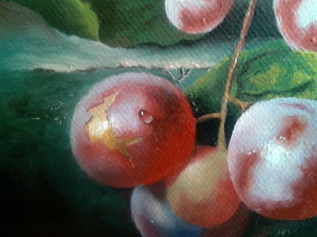 This image shows How I Painted Water Drops on Grape