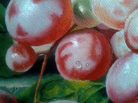 This image shows How I Painted Water Drop on Grapes